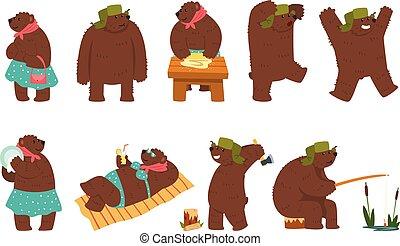 porter, brun, différent, humain, ensemble, situations, fond, ours, ours, vecteur, illustration, femme, blanc mâle, humanized, dessin animé, caractères, vêtements