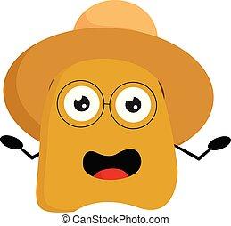 porter, brun, monstre, été, couleur, jaune, vecteur, chapeau...