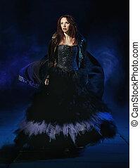 porter, brunette, robe, beauté, magnifique