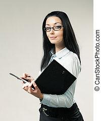 porter, brunette, series., cuir, aide, chemise, /, une, portrait., glasses., tenue, femme affaires, sexy, girl, jupe, folder., secrétaire