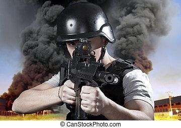 porter, bulletpro, industrie, explosion, personne, police, ...