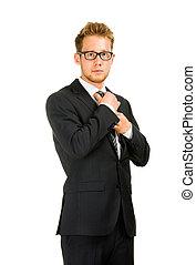 porter, business, jeune, suit., noir, beau
