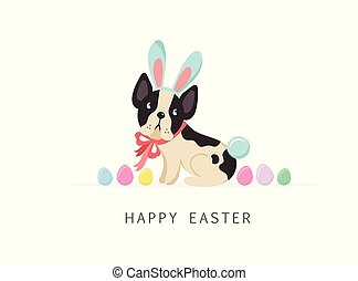 porter, carte, chien, déguisement, lapin pâques, heureux
