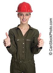 porter, casque, femme, construction