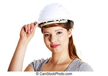 porter, casque, femme, jeune, protecteur, architecte