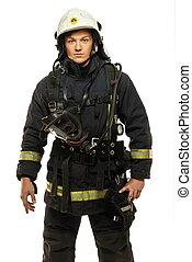 porter, casque, pompier, jeune, isolé, blanc