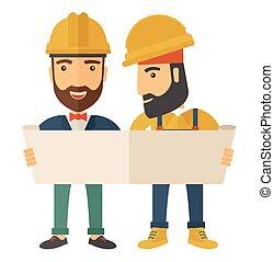 porter, casques, deux, architectes, regarder, protection, blueprint.