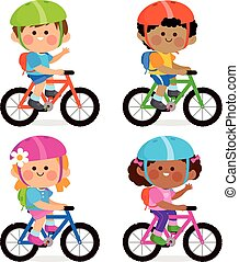 porter, casques, illustration, leur, bicycles, vecteur, équitation, backpacks., enfants