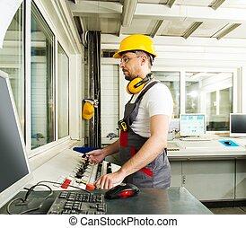 porter, centre audiofréquence, usine, sécurité, opérateur, chapeau