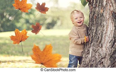 porter, chandail, voler, feuilles jaune, automne, enfant, amusement, jouer, avoir, érable, heureux