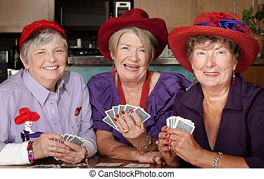 porter, chapeaux dames, cartes, jouer, rouges