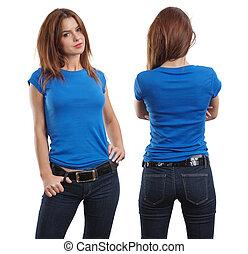 porter, chemise bleue, femme, vide, sexy