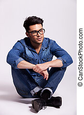porter, chemise, séance, lunettes, jean, homme