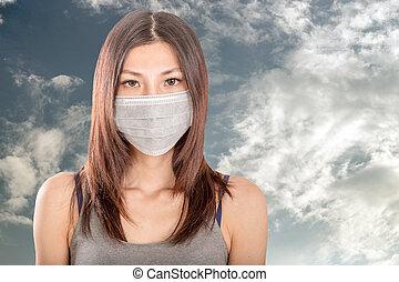 porter, chirurgical, femme, masque, asiatique