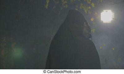 porter, clair lune, sien, spooky, masque, jouer, zombi, appareil photo, noir, sombre, cap, halloween, attaquer