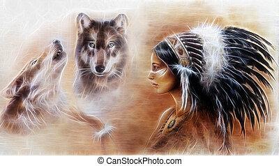 porter, coiffure, indien, wo, jeune femme, magnifique, plume