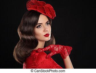 porter, coiffure, mode, studio, romantique, portrait., vendange, dame, style, makeup., isolé, femme, noir, retro, fond, ondulé, girl, chapeau, gants, rouges