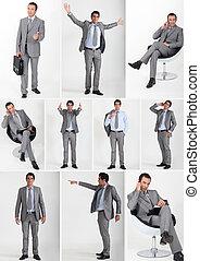 porter, collage, gris, complet, homme, flanelle