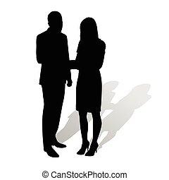 porter, complet, affaires femme, gens., élevé, conversation...