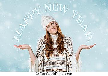porter, concept, année, tricoté, chaud, chapeau, magnifique, nouveau, girl, cavalier, noël, heureux
