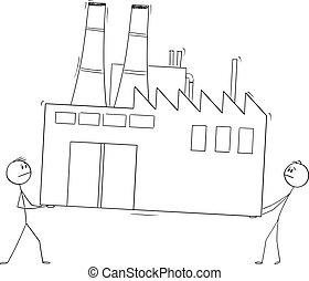 porter, concept, deux, low-cost, illustration, ...