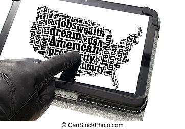 porter, concept, illégal, activité, gant, main, noir, ligne...