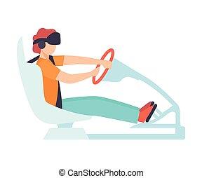 porter, conduite, simulateur, imiter, voiture, avancé, chauffeur, illustration, réalité, vecteur, virtuel, numérique, lunettes, utilisation, type, technologie, route, homme