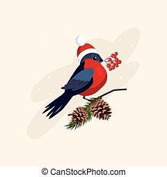 porter, cones., illustration, vecteur, branche, chapeau, bouvreuil