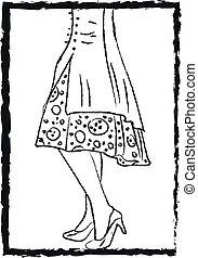 porter, couleur, illustration, vecteur, stilettos, élégant, dame, ou
