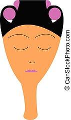 porter, couleur, styling, illustration, kit, cheveux, vecteur, dame, ou