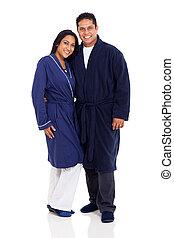 porter, couple, indien, pyjamas