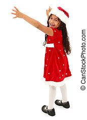 porter, coupure, adorable, atteindre, robe, hispanique, hat., preschooler, path., noël, dehors.