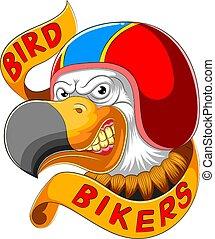 porter, coureur, casque, oiseau