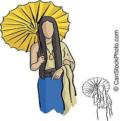 porter, croquis, femme, parapluie, griffonnage, illustration, lignes, style, jaune, isolé, tissu, bois, noir, asiatique, fond, traditonal, dessiné, blanc, main, vecteur, thaï
