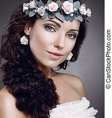 porter, cutie, fasciner, couronne, attractiveness., perfection., fleurs