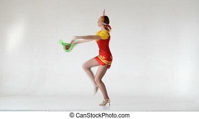 porter, danse femme, costumes, jeune, entiers, length.,...