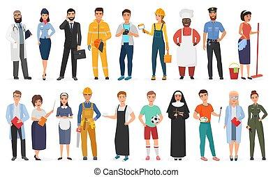 porter, différent, ensemble, illustration., gens, ouvriers, hommes, profession, collection, uniforme, métiers, vecteur, divers, professionnel, ou, femmes