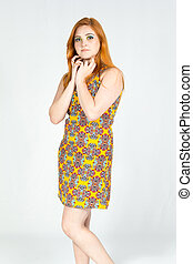 porter, dress., redheaded, coloré, doux, photo., jaune, poser, girl, summer.