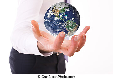 porter, earth., homme affaires
