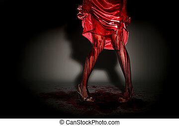 porter, effrayant, femme, égouttement, prom, sanguine, robe