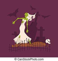 porter, effrayant, mort, mariée, robede mariée