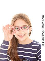 porter, enfant, lunettes
