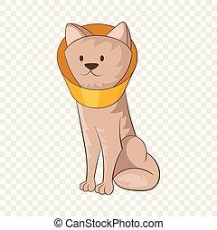 porter, entonnoir, colla, style, chien, cône, icône, dessin animé