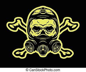 porter, essence, crossbones., masque, crâne