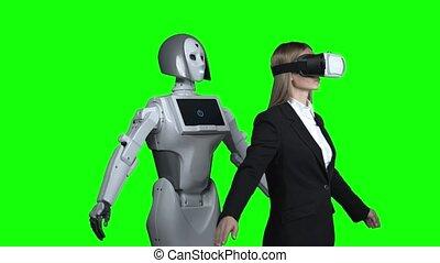 porter, femme, autour de, écran, après, robot, réalité virtuelle, vert, récupérations directes, répétitions, lunettes, elle.