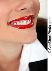 porter, femme, closeup, rouge lèvres, rouges