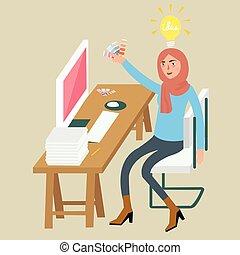 porter, femme, combinaison, séance, couleur, graphique, idée, concepteur, créatif, informatique, femme, bureau, table, chaise, voile, sélectionner