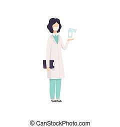 porter, femme debout, docteur, manteau, monde médical, caractère, masque, illustration, scientifique, vecteur, bouteille, médecine, ou