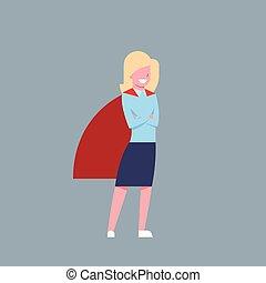 porter, femme, héros, business, femme affaires, isolé, cap, rouges