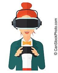 porter, femme, headset., réalité virtuelle